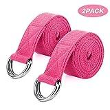 MoKo Yoga Correa - [2 Pzs] Durable Algodón Suave de Estiramiento Fitness Ejercicio Físico Band con D-Ring Metal & Strap Belt 6ft para Mejora de la Flexibilidad, Terapia Física - Magenta