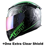 1STorm Motorcycle Full Face Helmet Skull King Matt Green+ One Extra Clear Shield, Size Large (57-58 CM,22.4/22.8 Inch)