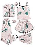 SheIn Women's 7pcs Pajama Set Cami Pjs with Shirt and Eye Mask Small Pink