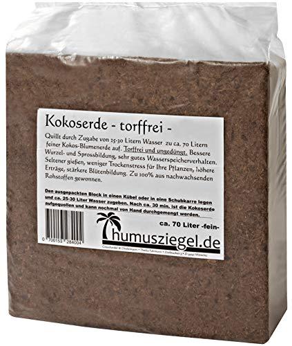 Humusziegel - 70 Liter Kokoserde - Blumenerde aus Kokosfaser - Kokosblumenerde