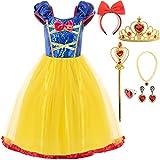 FUNNA Girls Elastic Waist Dress for Snow White Princess Costume, 4T