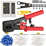 CHZHLM RJ45 Pass Through Crimper Tool Cutter Set for RJ45/RJ12 6P 8P Multi-Function Cable Cat5 Cat5e Cat6 Crimping tool Network Wire Stripper with 80pcs Connetors and 40pcs Covers Knives Cable Tester