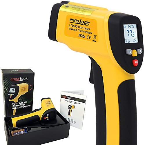 ennoLogic Temperature Gun (NOT for Human) - Accurate High Temperature Dual Laser Infrared Thermometer -58F to 1202F - Digital Surface IR Thermometer eT650D - w/NIST Certificate