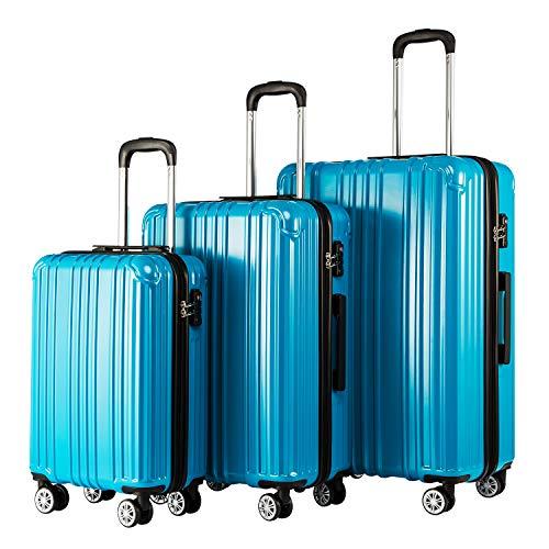 COOLIFE Hartschalen-Koffer Rollkoffer Reisekoffer Vergrößerbares Gepäck (Nur Großer Koffer Erweiterbar) PC+ABS Material mit TSA-Schloss und 4 Rollen (Türkisblau, Koffer-Set)