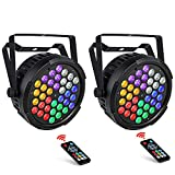 OPPSK LED Stage Lights 2 Pack, 36LEDs 36W RGBWA/UV Par Light Remote DMX Control, Auto Play Sound Activated Master Slave Power Linking Par Can Light for Wedding Church DJ Party Stage Lighting