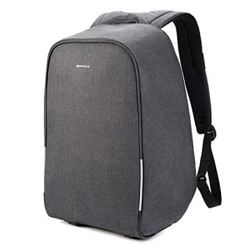 KOPACK Waterproof Anti Theft Laptop Backpack USB Charging Port Business Scan Smart with Rain Cover 15.6 Inch Gray Black Kp626