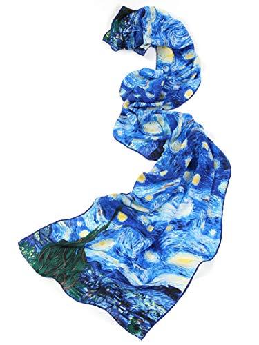 prettystern P117-160cm Sciarpa di Seta Dipinto Handrolled 2015 Van Gogh - Notte Stellata (starry...