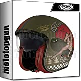 Premier Casque moto VINTAGE EVO PIN UP MILITARY MAT, Kaki, L