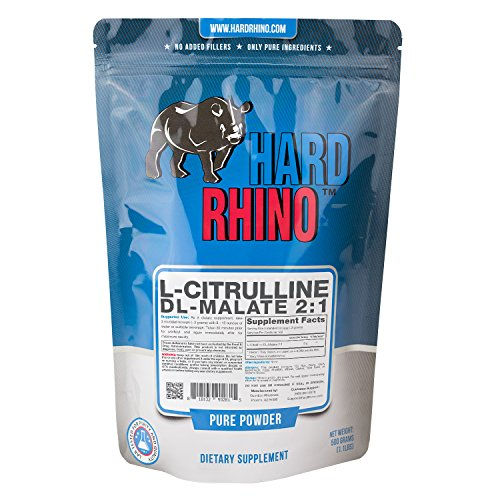 Hard Rhino L-Citrulline DL-Malate 2:1 Powder, 500 Grams (1.1 Lbs), Unflavored, Lab-Tested, Scoop Included