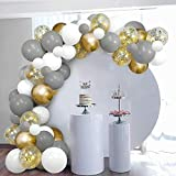 SKYIOL Arche Ballon Or Blanc Gris Helium Kit Ballon Guirlande avec 100...