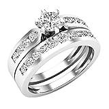 Dazzlingrock Collection 1.00 Carat (ctw) 14K Round Diamond Ladies Bridal Engagement Ring Set 1 CT,...