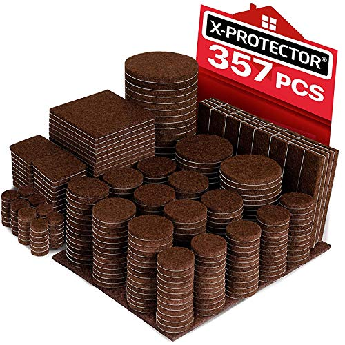 X-PROTECTOR 357 pcs Premium HUGE PACK Felt Furniture Pads! HUGE QUANTITY of Felt Pads For Furniture Feet with MANY BIG SIZES  Your IDEAL Wood Floor Protectors. Protect Your Hardwood & Laminate Floor!