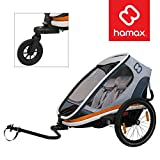 Hamax Outback Multi-Sport Child Bike Trailer + Stroller (Jogger Wheel Sold Separately) (Two Seats, White/Orange)