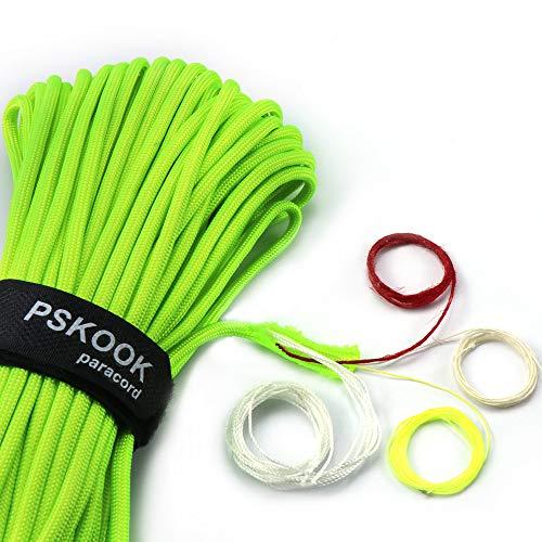 PSKOOK, corda paracord Fire di sopravvivenza, bushcraft, esche per il fuoco, lenza da pesca in PE, filo di cotone 7 + 3 fili, rosso, 30,48 m, verde fluo, 100FT