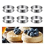 Baking Rings 6pcs English Muffins Rings,3.15inch Stainless Steel Crumpet Rings Molds,Double Rolled Tart Rings Mousse Ring Cake Mold for Home Food Baking Tools