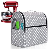 Luxja Dust Cover for 6-8 Quart KitchenAid Mixers (with Clear Side Zipper Pockets), Dust Cover with Top Handle for 6-8 Quart Stand Mixers and Extra Accessories, Gray Dots