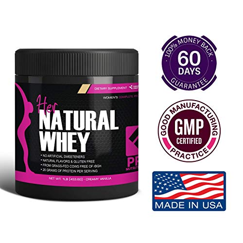 Protein Powder For Women - Her Natural Whey Protein Powder For Weight Loss & To Support Lean Muscle Mass - Low Carb - Gluten Free - rBGH Hormone Free - Naturally Sweetened with Stevia - Designed For Optimal Fat Loss (Creamy Vanilla) - Net Wt. 1 LB 3