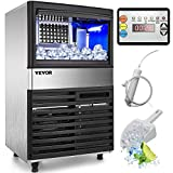 VEVOR 110V Commercial Ice Maker 110LBS/24H with 39LBS Bin, Clear Cube, LED Panel, Stainless Steel, Auto Clean, Include Water Filter, Scoop, Connection Hose, Professional Refrigeration Equipment