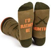 I'd Rather Be - Funny Novelty Socks Stocking Stuffer Gift For Men and Women (Hunting)