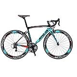 SAVA Vélo de Route de Fibre de Carbone 700C Shimano 3000 18-Vitesses Système Vélo Ultraléger (Noir Blanc Bleu, 540mm)