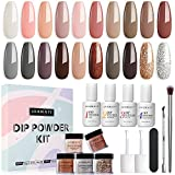 20 Colors Dip Powder Nail Kit Starter, AZUREBEAUTY Nude Glitter Pastel Dipping Powder Essential Liquid Set with Top/Base Coat Activator Brush Saver Natural Skin Tone French Nail Art Manicure DIY Salon