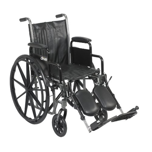 Drive Medical Silver Sport 2 Wheelchair with Various Arms Styles and Front Rigging Options, Black, 18 Inch