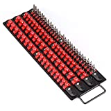 Makitoyo 80-Piece Portable Socket Organizer Tray, 1/4-Inch, 3/8-Inch, 1/2-Inch,Heavy Duty Socket Rail, Black Rails with Red Clips,Drive Socket Clip Rail Holder