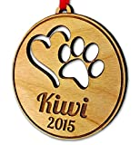 Personalized Pet Ornament Paw Heart Dog Cat Christmas Ornament Holiday Tree Decor Ornament Gift Custom Engraved Puppy Kitten Gift