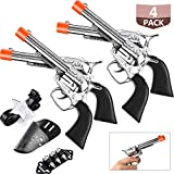 Gejoy 2 Set Toy Gun Cowboy Holster Set Wild West Cowboy Sheriff Include 4 Pieces Toy Pistols, 4 Pieces Gun Holsters, 6 Play Bullets and 2 Pieces Adjustable Cowboy Belt for Western Cowboy Costume