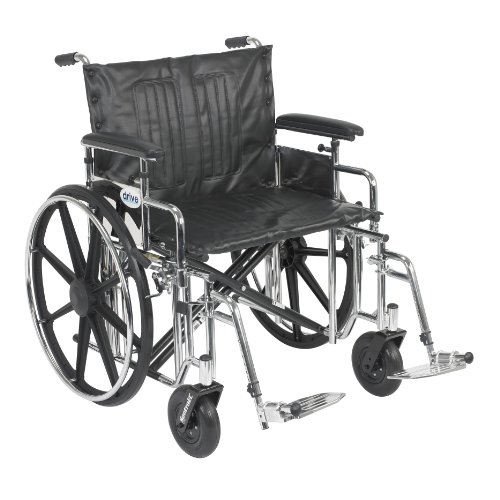 Drive Medical Sentra Extra Heavy Duty Wheelchair with Various Arm Styles and Front Rigging Options, Black Upholstery and Chrome Frame, Bariatric, 20 Inch