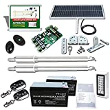 DC House EM3 Heavy-Duty Solar Gate Opener with Remote Complete Kit for Dual Swing Gates Up to 16 feet/1320 lbs,Solar Panel Batteries and Keypad Included (Subcontract Delivery)