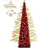 5ft Collapsible Artificial Christmas Tree, Pop Up Tinsel Coastal Christmas Tall Skinny Tree with Stand, Sequin Pensil Tree for Apartment Home Office Store Holiday Decorations (Rose Red)