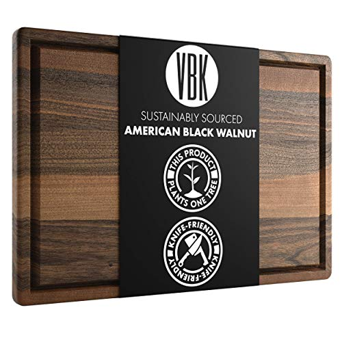 Large Walnut Wood Cutting Board Made in USA by Virginia Boys Kitchens - 20x15 American Hardwood Chopping and Carving Countertop Block with Juice Drip Groove
