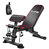 GIKPAL Adjustable Weight Bench - 8 Positions, Incline/Flat/Decline Bench , Foldable Exercise Workout Bench for Home Gym, 300lbs Capacity (Black & Red ) (Red)