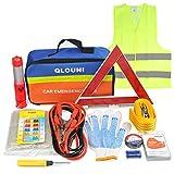 QLOUNI Kit d'urgence Auto 12-en-1 - Kit de sécurité Voiture Euro Assistance routière avec Triangle de Signalisation,Eclairage de Secours,câbles de démarrage,Corde de remorquage,Sac de Stockage