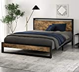 SHA CERLIN Queen Bed Frame with Wooden Headboard, High Metal Platform Bed, No Box Spring Needed