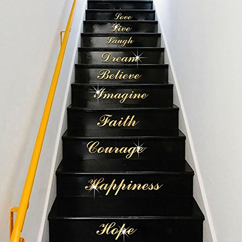 'Love Live Laugh' English Mirror Sticker Acrylic Staircase Sticker...