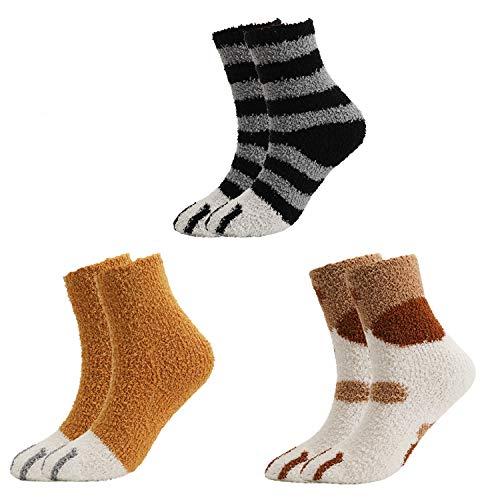 QKURT Calzini pantofole da 3 paia per donna Ragazza, calzini invernali per interni Calzini sfocati soffici per la casa Calzini per dormire con artigli di gatto morbidi e carini