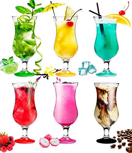 Platinux Bicchieri da cocktail 400ml (max. 470ml) in vetro Set (6 pezzi) Longdrink Bicchieri da festa Grande colorato