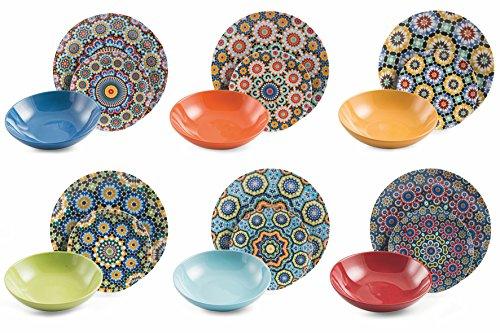 Villa dEste Home Tivoli Marrakech Servizio Tavola, Porcellana, Multicolore, 18 Unit