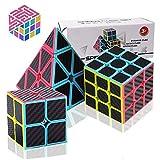 Speed Cube Set, Carbon Fiber Sticker Puzzle Cube Bundle Magic Cube Set of 2x2x2 3x3x3 Pyramid Speedcube