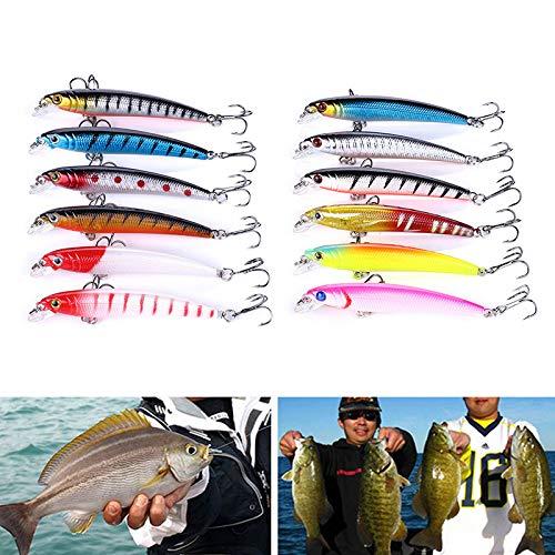 Esche Artificiali Spinning - Dealit Popper Esche da Pesca Crankbaits delle Esche Bass Ciprinidi Lure Kits Attrezzatura da Pesca Accessori (12PCS)