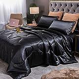 Sisher 5Pcs Bedding Sets, Silk Stain Bed in A Bag Sheets Sets Queen Size Comforter and Sheet Set (1 Black Comforter, 2 Black Pillow Shams, 1 Black Flat Sheet, 1 Black Fitted Sheet)