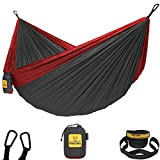Wise Owl Outfitters Hammock for Camping Single & Double Hammocks Gear for The Outdoors Backpacking Survival or Travel - Portable Lightweight Parachute Nylon DO Charcoal & Red