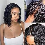 Ossilee Lace Front Human Hair Wigs 13x4 Short Bob Wig Water Wave Lace Front Wigs Human Hair Pre Plucked 150% Density Bob Wigs Human Hair for Black Women (10inch)