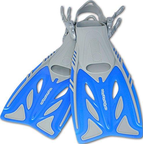 AQUAZON Barracuda verstellbare Flossen, Schnorchelflossen, Taucherflossen, Schwimmflossen, Diving fins für Kinder, Erwachsene zum Schnorcheln und Schwimmen, Größe:32/37, Farbe:Blue