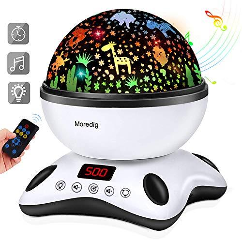 Moredig - Proiettore Stelle Bambini, 360 Rotazione Musicale Proiettore Lampada con lo Schermo a Led...