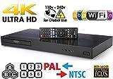 LG UHD - Dual HDMI - 2D/3D - Wi-Fi - 2K/4K - RegionFree Blu Ray Disc DVD Player - PAL/NTSC - USB - 100-240V 50/60Hz for World-Wide Use 6 Feet Multi System 4K HDMI Cable