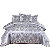A Nice Night Bedding European Paisley Damask Design Jacquard Duvet Cover Set King,Silver