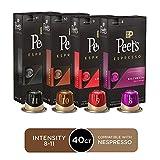 Peet's Coffee Espresso Capsules Variety Pack, 40 Count Single Cup Coffee Pods, Compatible with Nespresso Original Brewers, Crema Scura, Nerissimo, Ricchezza, Ristretto